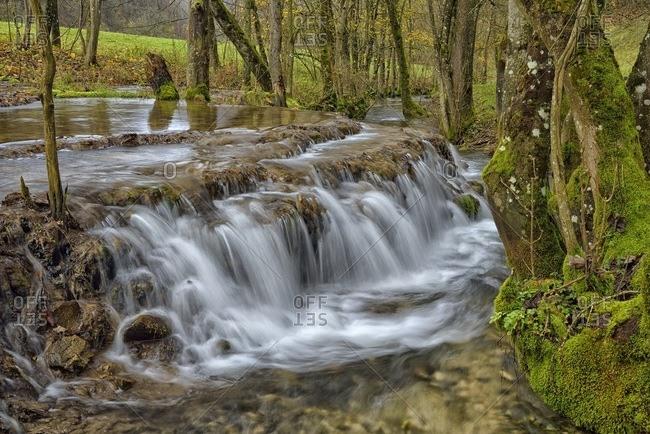 Tufa formations, stream in the Swabian Jura Biosphere Reserve, Baden-Wurttemberg, Germany, Europe