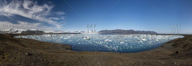 Jokulsarlon glacier lagoon, Vatnajokull, Hornafjorour, Eastern Region, Iceland, Europe