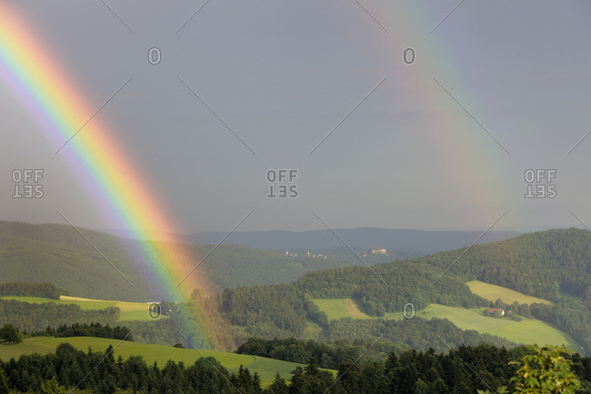 A rainbow and Bernstein castle, Hochneukirchen, Lower Austria, Austria, Europe