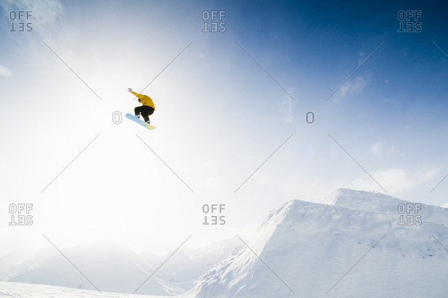 January 7, 2009: Snowboarder in Andermatt, Uri, Switzerland, Europe