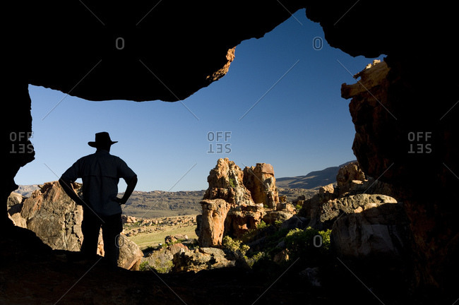 Man, silhouette, rock formations, Cederberg mountains, Western Cape, South Africa, Africa