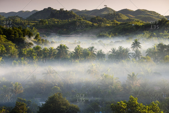 Landscape in the mist, Mrauk U, Sittwe District, Rakhine State, Myanmar, Asia
