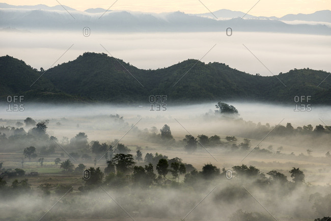 Landscape with mist, Mrauk U, Sittwe District, Rakhine State, Myanmar, Asia