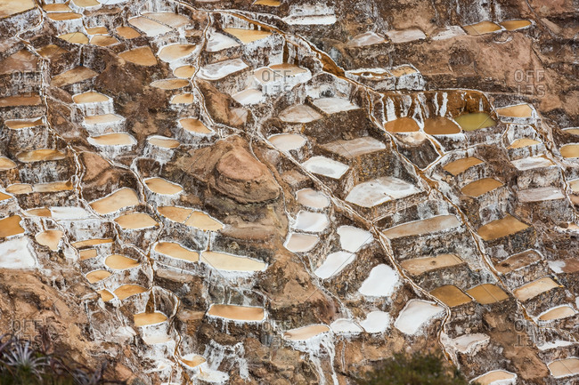 Salt pans in the Sacred Valley of the Incas on the Urubamba, at Maras, Peru, South America