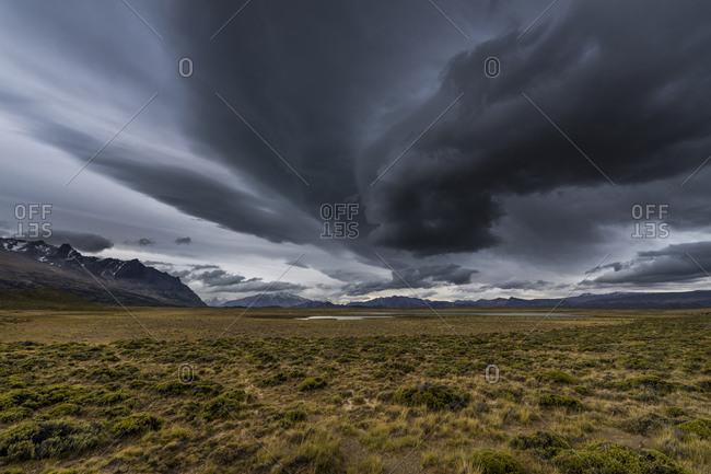 Grasslands in a storm, Perito Moreno National Park, Patagonia, Argentina, South America