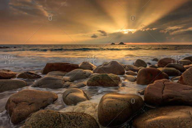 Sunset Port Nanven, Cornwall, United Kingdom, Europe