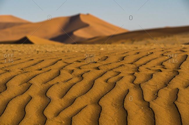 Wavy pattern in sand, Big Mama, dune, Sossusvlei, Namib Desert, Namibia, Africa