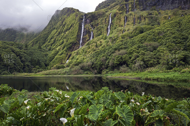 Lagoa dos Patos and waterfalls Poco da Alagoinha, near Faja Grande, island of Flores, Azores, Portugal, Europe