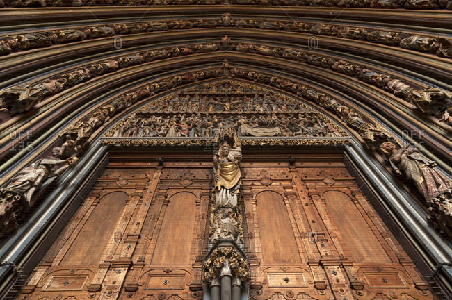 September 10, 2014: Detail of the entrance gate of the porch,1483, of the Freiburg Minster, 1513, Freiburg, Baden-Wurttemberg, Germany, Europe