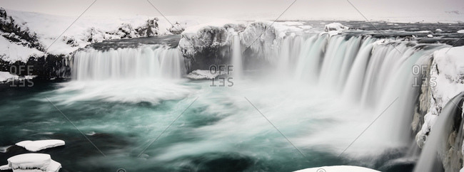 Gooafoss Waterfall, panoramic view, waterfall of the Gods, Godafoss in winter with snow and ice, Northwestern Region, North Iceland, Iceland, Europe