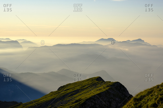 Berchtesgaden Alps in the Haze, in front High Laafeld, 2074m, Berchtesgaden, Bavaria, Germany, Europe