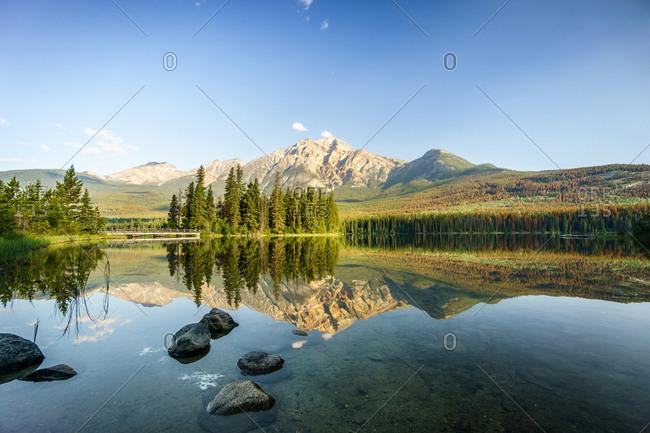 Pyramid Lake with Mountain landscape, Alberta, Canada, North America