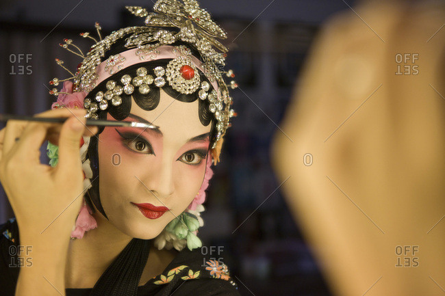 June 3, 2011 - Female Beijing Opera performer making up, traditional Chinese culture, China, Asia