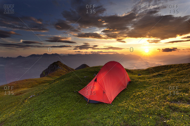 Tent, sunrise above the Inn Valley, Axamer Lizum, Tyrol, Austria, Europe