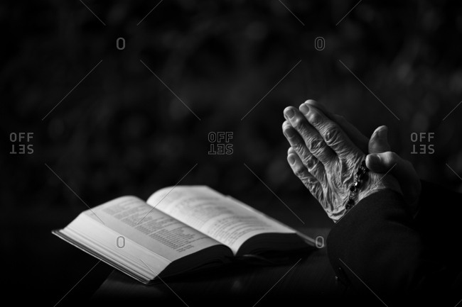 Praying Hands with Open Book, Rosary