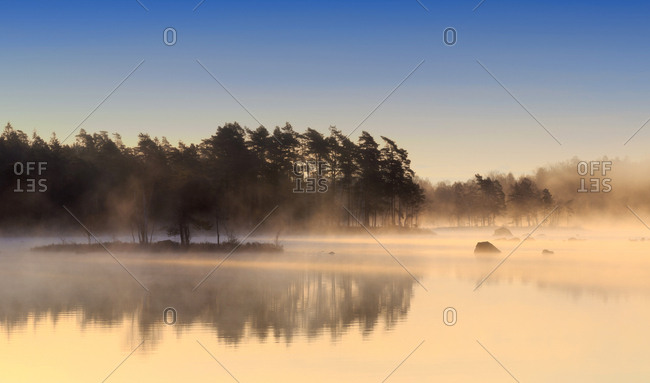 Lake Maen at dawn, Gashult, Smaland, Sweden, Europe