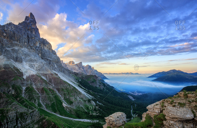 Rolle Pass, Passo Rolle, high mountain pass, in the back San Martino di Castrozza, Primiero valley, Trentino, Italy, Europe