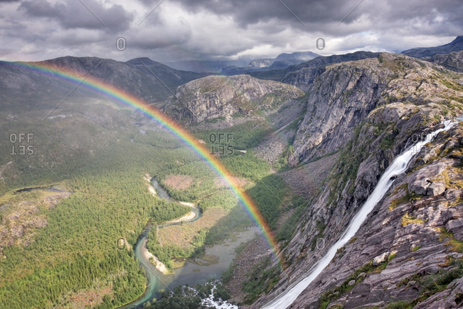 Litlverivassforsen waterfall and Litlverivatnet lake, Bassejavrre lake, with rainbow, Rago National Park, Nordland county, Norway, Scandinavia, Europe