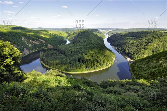 The Saar River Bend near Mettlach, Orscholz, Saarland, Germany, Europe