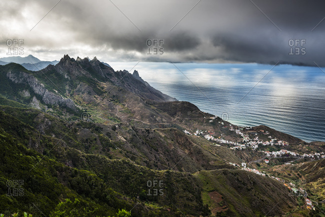 Village Taganana, view from the viewpoint on the TF-123 road, Anaga mountains, Parque Rural de Anaga Natural Park, Santa Cruz de Tenerife, Tenerife, Canary Islands, Spain, Europe