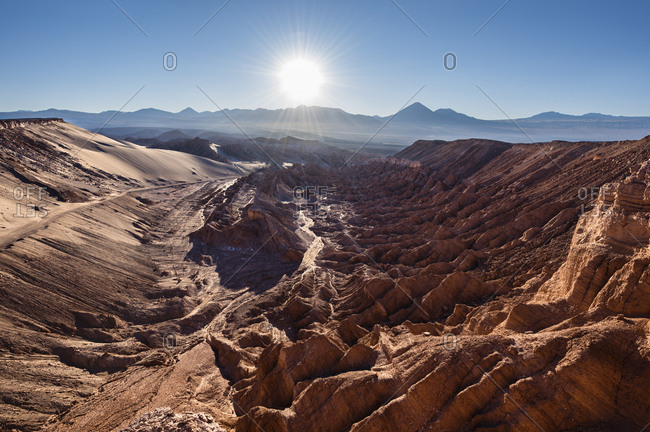 The Cordillera de la Sal mountain range, part of the Cordillera Domeyko, behind the Andes, San Pedro de Atacama, El Loa province, Antofagasta region, Norte Grande de Chile, Chile, South America