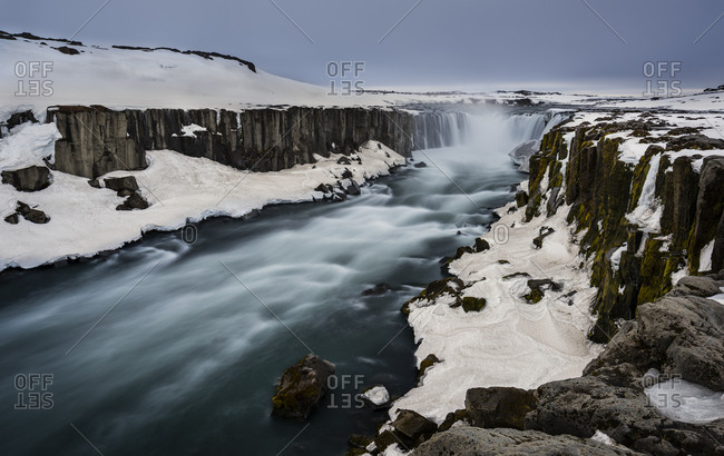 Waterfall Selfoss in winter at the river Jokulsa a Fjollum, Northern Norway eystra, Eastern Nordland, Island
