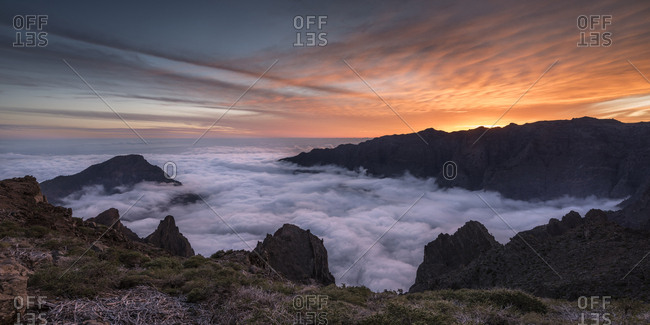 Sunset at the Pico de la Nieve summit at the crater rim, altitude 2232m, Caldera de la Taburiente national park, La Palma, Canary Islands, Spain, Europe