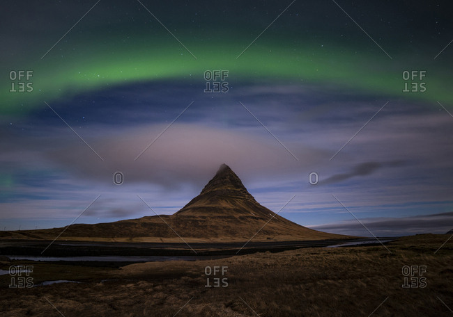Polar light, northern light, Aurora borealis, mountain Kirkjufell, height 463m, peninsula Snaefellsnes, Vesturland, Island