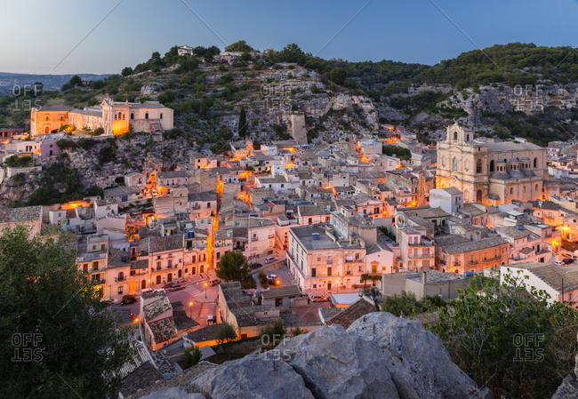 Twilight, Old Town, Scicli, UNESCO World Heritage Site, Province of Ragusa, Sicily, Italy, Europe