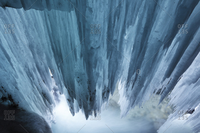 Icicles in the Partnachklamm gorge near Garmisch-Partenkirchen, Werdenfelser Land, Upper Bavaria, Bavaria, Germany, Europe