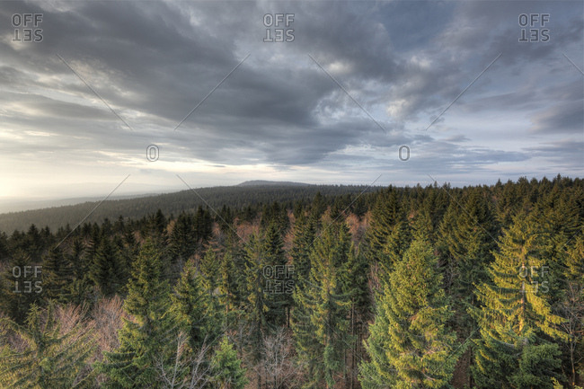 """Morning mood from the """"Moldaublick"""" look-out, Sulzberg, Bohemian Forest, Muehlviertel, Upper Austria, Austria, Europe"""