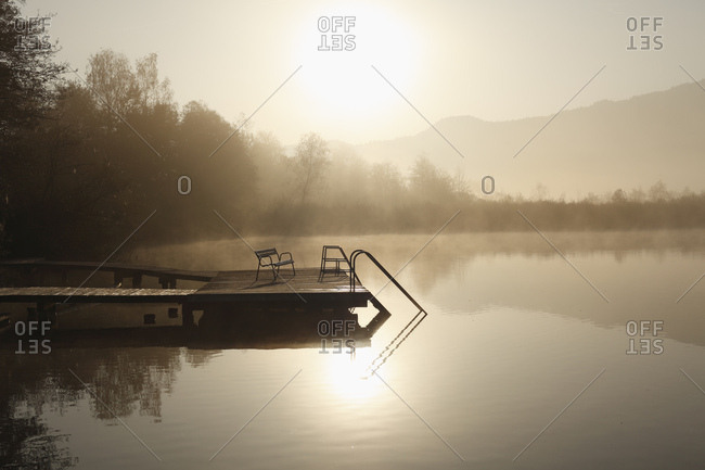 Morning mood at the Hafnersee lake near Keutschach, Carinthia, Austria, Europe