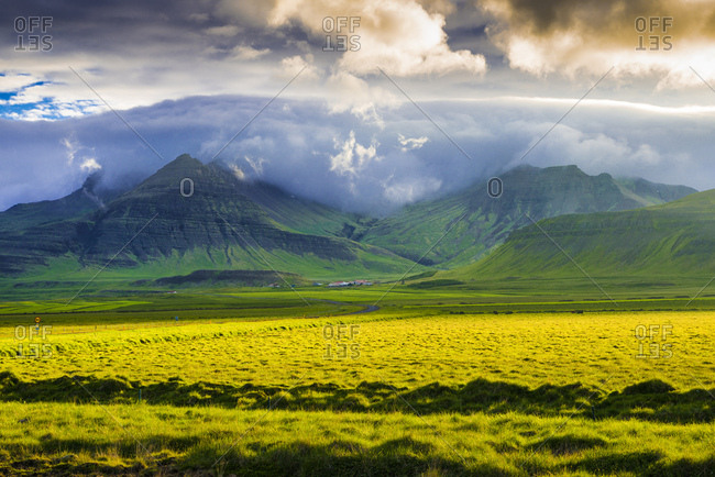 Landscape with meadow and mountains in the evening light, Snaefellsnes peninsula, Iceland, Europe
