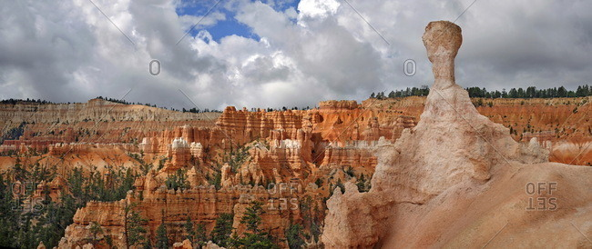 Thor's Hammer, a sandstone pillar or hoodoo formed by erosion in the Queens Garden, Bryce Canyon National Park, Utah, United States, North America