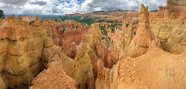 Amphitheater with sandstone pillars or hoodoos, landscape formed by erosion, Bryce Canyon National Park, Utah, United States, North America