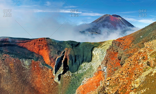 Red Crater and volcanic Mount Ngauruhoe, Tongariro National Park, Manawatu-Wanganui, North Island, New Zealand, Oceania