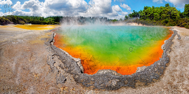 Champagne Pool, hot spring glowing in multiple colors, Waiotapu, Rotoua, Waikato Region, New Zealand, Oceania