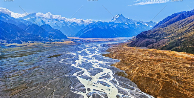 Tasman River with the peak of Mount Cook, Aoraki, Mount Cook National Park, New Zealand Alps, South Island, New Zealand, Oceania