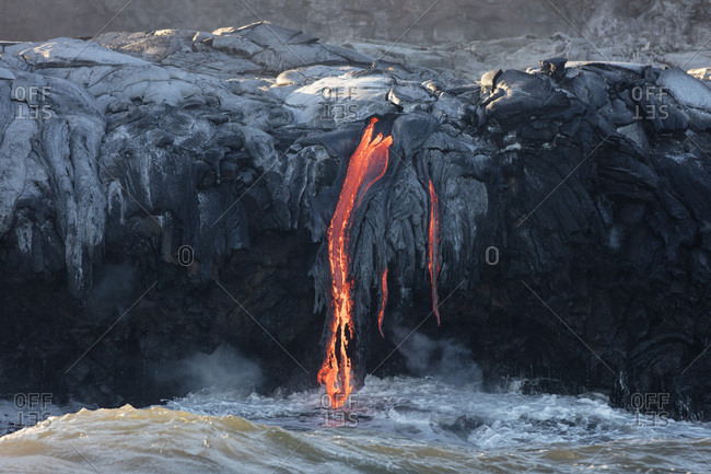 Lava entering ocean, Kamokuna, Kilauea Volcano, Hawai'i Volcanoes National Park, Big Island, Hawai'i, USA, North America