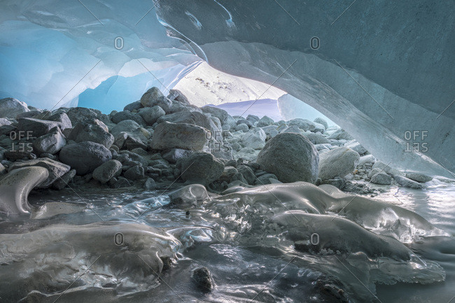 Ice cover in the glacier cave, Glacier Gate, Zinal Glacier, Zinal, Val d' Anniviers, Valais, Switzerland, Europe