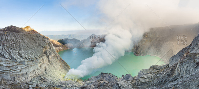 Volcano Kawah Ijen, volcanic craters with crater lake and steaming vents, morning light, Banyuwangi, Sempol, Eastern Java, Indonesia, Asia
