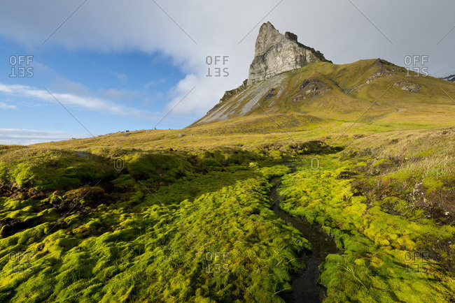 Alkhornet mountain, Trygghamna bay, Isfjorden fjord, Spitsbergen, Svalbard Islands, Svalbard and Jan Mayen, Norway, Europe