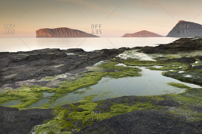 The islands Fugloy and Svinoy in the light of the midnight sun, Viooy, Faroe Islands, Denmark, Europe