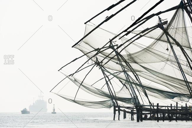 Chinese fishing nets, Fort Cochin, Kochi, Kerala, India, Asia