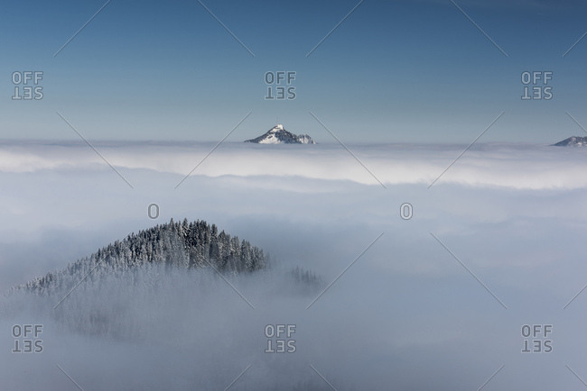 Snow-covered peak of Mt Grunten above the layer of fog, Ofterschwang, Oberallgau district, Bavaria, Germany, Europe