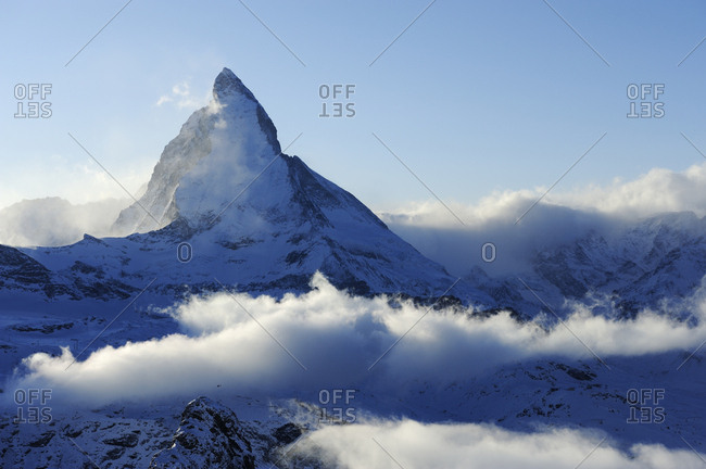 Mt. Matterhorn, shrouded in clouds, Zermatt, Valais, Switzerland, Europe