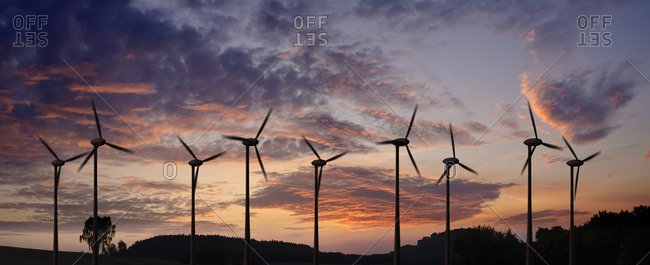 Wind turbines in evening light, Saxony, Germany, Europe
