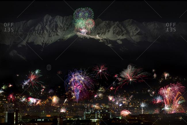 Bergsilvester fireworks display, New Year's Eve fireworks, Seegrube, Nordkette or North Chain, Innsbruck, Tyrol, Austria, Europe