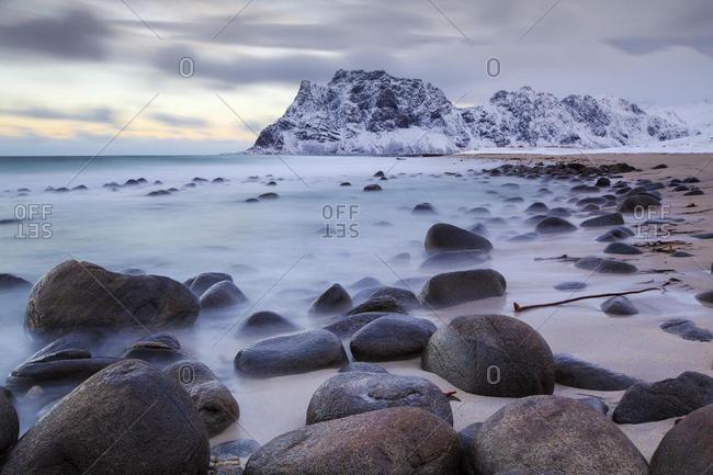 Coast in winter, Utakleiv, Lofoten, Norway, Europe