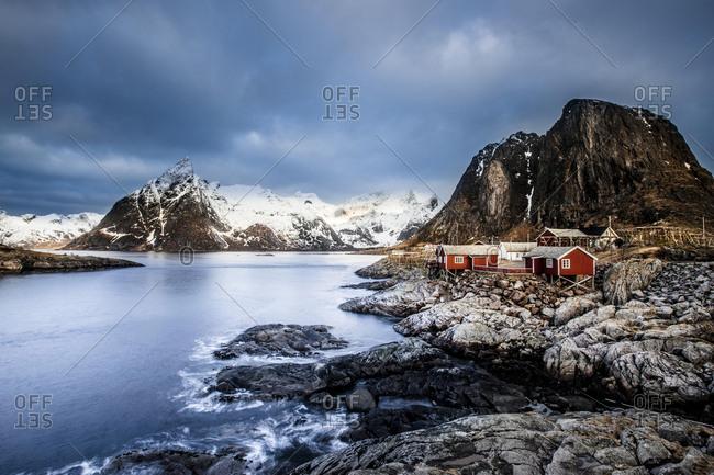Fishermen's houses, Rorbu, Moskenesoya, Reine, Hamnoy, Hamnoy Lofoten, Norway, Europe